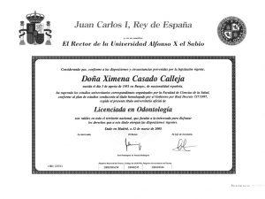 Titulo Universitario Ximena Casado